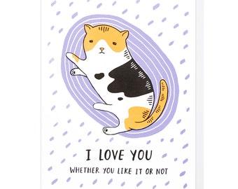 I Love You Cat Letterpress Card