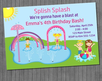 Splash Pad Invitations - Girl
