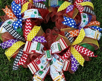 Teacher School Primary Color Burlap Deco Mesh Wreath with add on options