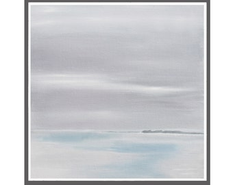 Seascape abstract original painting  7,87 x 7,87 inch (0,1 inch thick) oil on canvas panel