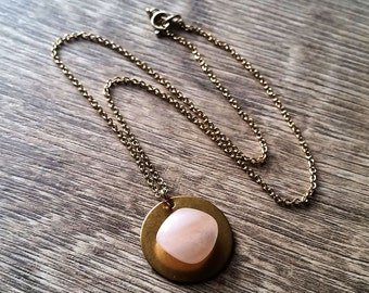 Love Rocks- Tumbled Rose Quartz Brass Disc Assemblage Pendant Necklace