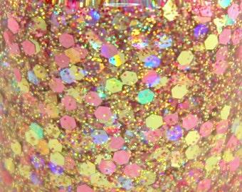 Rose Gold Pink Glitter Nail Polish Pink Gold Rose Holographic 5 free nail polish handmade indie nail polish vegan cruelty free