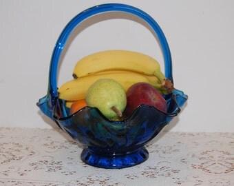 Tiara Glass Basket, Deep Blue Basket, Tulip Basket, Home Decor, Fruit Basket