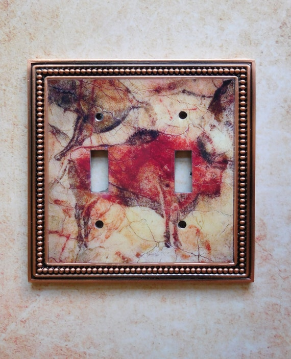 Art Switchplate: The Art of Prehistory - Altamira Bison, double toggle light switch plate, framed in beaded copper.