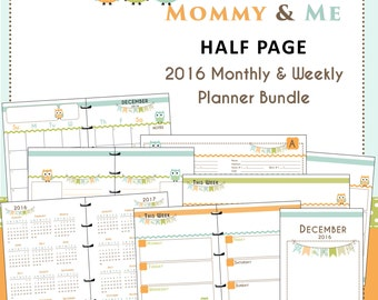 Printable 2016 Monthly Weekly Planner Refills Happy Owls Bundle - Mommy & Me Edition - US Half Page