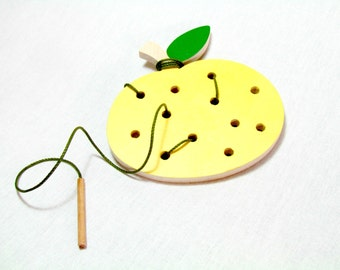 Montessori toys , Wooden toy , Toddler Educational Toy , Grapefruit Lacing Toy, Christmas gift for Toddlers
