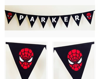 Personalised Spiderman Bunting Banner Flags