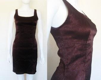 90s Dark Plum Burgundy Shimmer Bodycon Dress