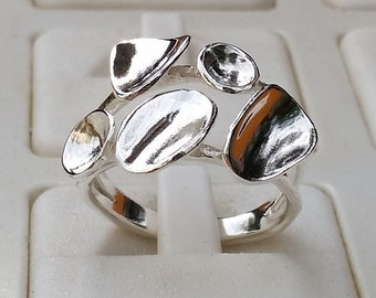 Silver Ring Sterling Silver 925 Handmade Sculptured  Artisan Crafted Size 9  Women Free Shipping