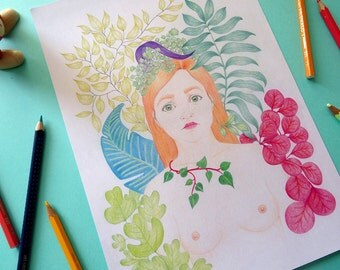 Nature, portrait illustration print