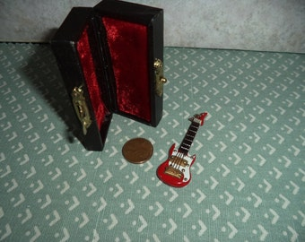 1:12 scale Dollhouse Miniature electric guitar Red or white with case