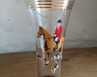 Vintage 1950s glass decorated with a hunting scene