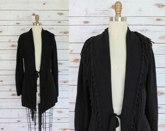 Vintage • Black Oversized Fringed Cardigan