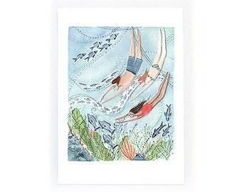 Summer Swimming - archival art print