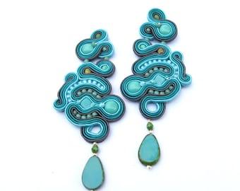 Unique Long Clip-On Earrings, Teal Earrings, Soutache Earrings, Handmade Earrings, Drop Earrings, Dangle Earrings, Soutache Jewelry