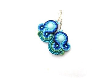 Handmade Blue Dangle Earrings , Blue Soutache Earrings with beads , Hand Embroidered Soutache Jewelry , Blue Earrings , Soutache Earrings
