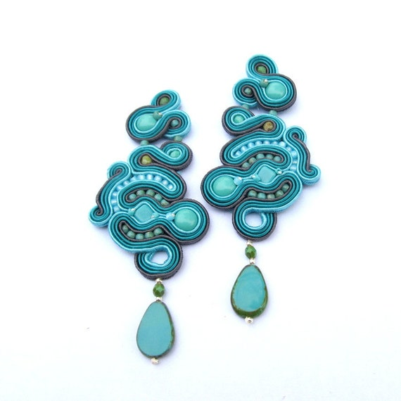 Unique Long Clip-On Earrings, Teal Earrings, Soutache Earrings, Handmade Earrings, Drop Earrings, Dangle Earrings, Soutache Jewelry