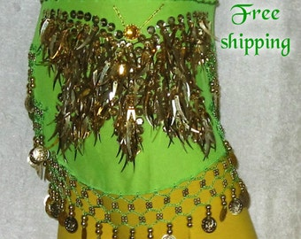 Belly dance, Belly dance hip scarf, Green hip scarf, Gypsy hip scarf, Green belly dancing hip scarf, Belly dance belt, Coin belt,Sequin belt