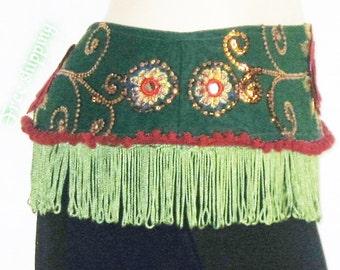 Belly dance,Tribal belly dance fringe,Tribal fusion gypsy fringe belt,Tribal belt,Fusion belt,Belly dance belt,Gypsy fusion belt