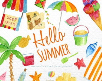 Beach clipart,Summer clipart,Digital Clipart, Watercolor Summer Clipart, Summer Papers, Hello Summer Clipart, Beach Clipart