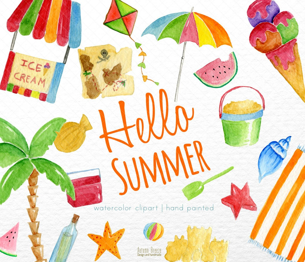 Beach Clipart Summer Clipart Digital Clipart Watercolor