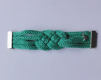 Dana : mint green cotton plaited bracelet