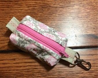 Pink Damask Box Zip Bag