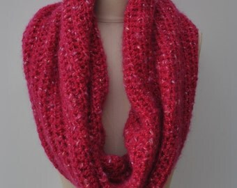 Pink chunky crocheted extra large cowl