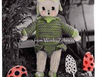 Vintage Christmas ELF knitted doll Knitting Pattern PDF 580 from ToyPatternLand and WonkyZebra