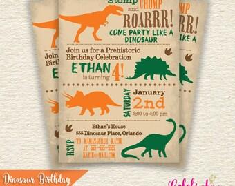 Dinosaur Birthday Party Invitation - by Celebration Lane