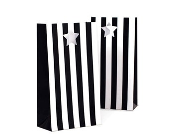 SALE! Black Tie Striped Favor Bags (12 Count)
