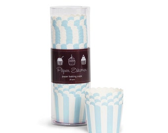 Light Blue Striped Baking Cups (25 Count) - Powder Blue