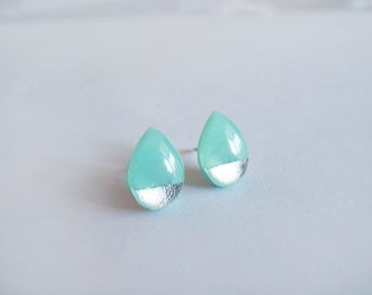 Mint Green & Silver Drop Stud Earrings - Hypoallergenic Titanium Posts