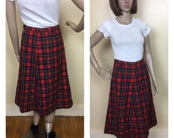 Vintage Pendleton Skirt , Red Plaid Skirt , Pendleton Aline Skirt S