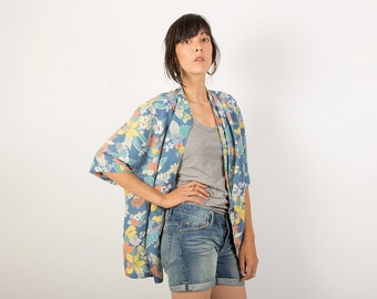 Pastel Floral Duster Kimono Style Jacket, Doubled Breasted Slouchy Cover Up, Light Oversized Blouse, Spring Summer Blazer