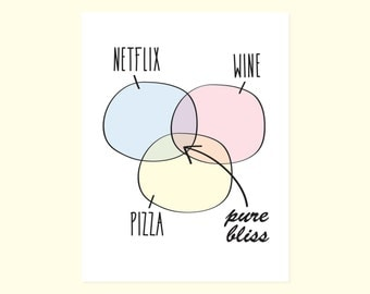 Galentine's Day. Anti-Valentine's Day. Friend Card. Funny Just Because Card. Netflix + Wine + Pizza = Pure Bliss.