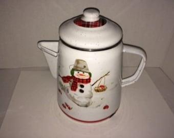 Hallmark Jan Karon Mitford Enamelware Coffee Pot with Snowman