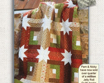 "Log Cabin Hidden Stars 60 x 60  2 1/2"" Stripe Log Cabin Quilt Pattern Uses Just one Jelly Roll"