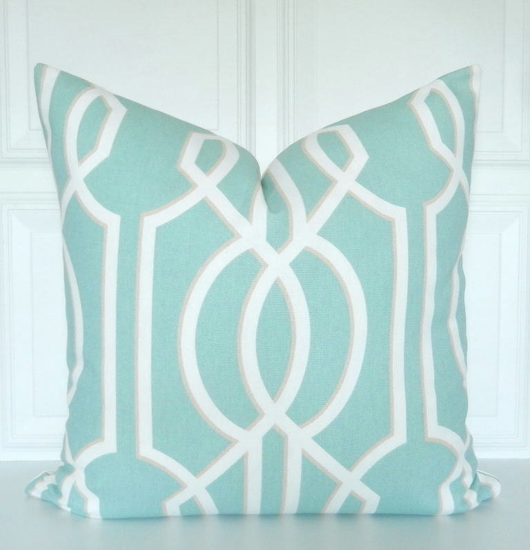 Seafoam Blue Decorative Pillows : Seafoam Green Pillow Cover Decorative Pillow Lattice