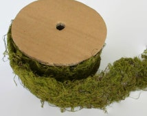 Faux Artificial Moss ribbon roll, garland, rustic green trim, craft supply, wedding supply, terrarium, DIY