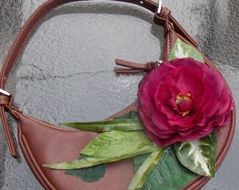 Recycled Brown Purse with Red Rose and Green Leaves, Upcycled Floral Handbag for Fairies, Flowergirls, or Bridesmaids, Flower Girl Purse