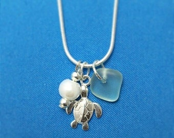 """Sterling Silver Dainty Turtle Charm Necklace with Natural Hand-Picked Sea Glass from Dorset, UK with Silver & Glass Beads on 20"""" Snake Chain"""