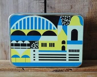 Vintage tin box, Vintage tin container with cover, Blue metal box, Vintage storage, Vintage tin tools box, Tin box, Tallinn, Primitive box