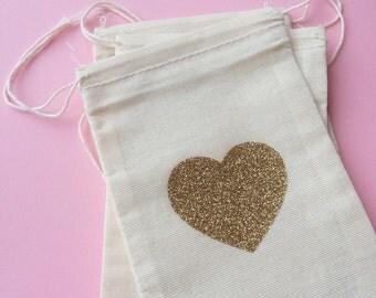 Glitter Heart - Small Muslin Bags - set of 6