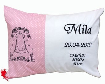 Baptism Cushion with name Name cushion Personalised pillow