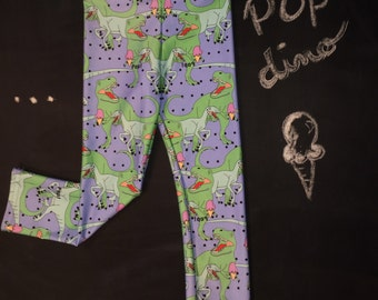 Blue leggings for children with drawings original of Dinosaurs and ice cream printed by sublimation on poly-spandex 4 years +