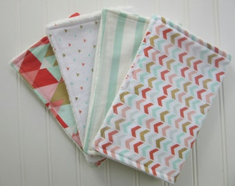 Baby Girl Burp Cloth Set, Set of 4 Burp Cloths: Set of 4 Mint, Coral and Gold Burp Cloths