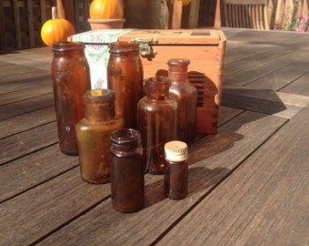 Amber Glass Medicine Bottles, Apothecary Collection, Antique, Vintage Pharmacy Rustic Home Decor