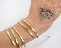 Upper Arm Cuff, Gold Spiral Arm Bracelet Hammered Wire Jewelry Boho Hippie Cuff