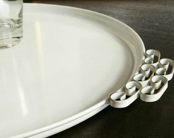 Mid Century Kyes Moire Glaze Pearl White Tray - Round